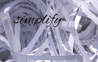 Simplify text amidst shredded paper
