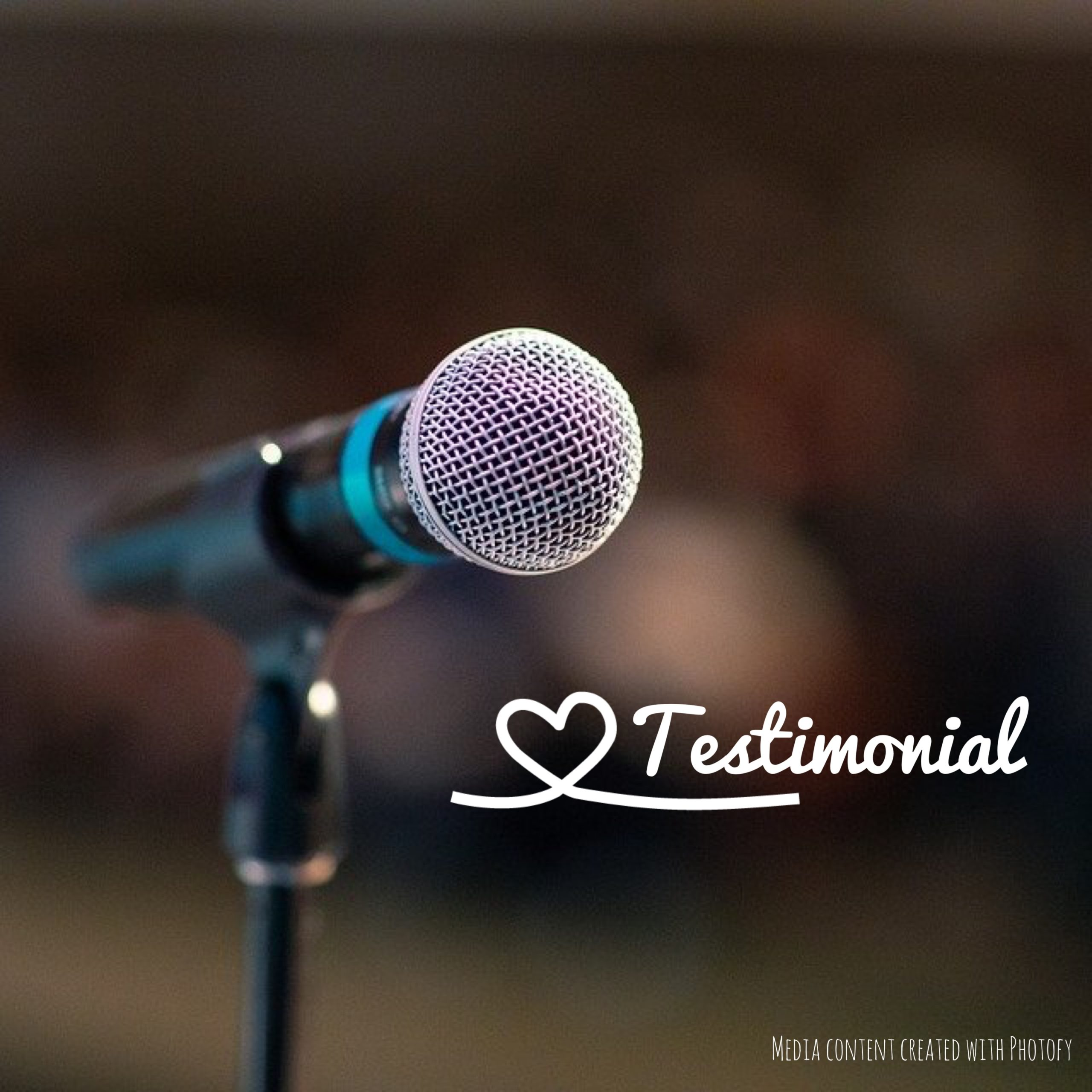 microphone picture with the word testimonial