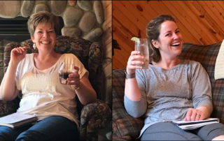 Photo of BF Bookkeeping business owners, Stacy Bradley and Meghan Fessler, sitting with their feet up on a working retreat and toasting to a completed to-do list.