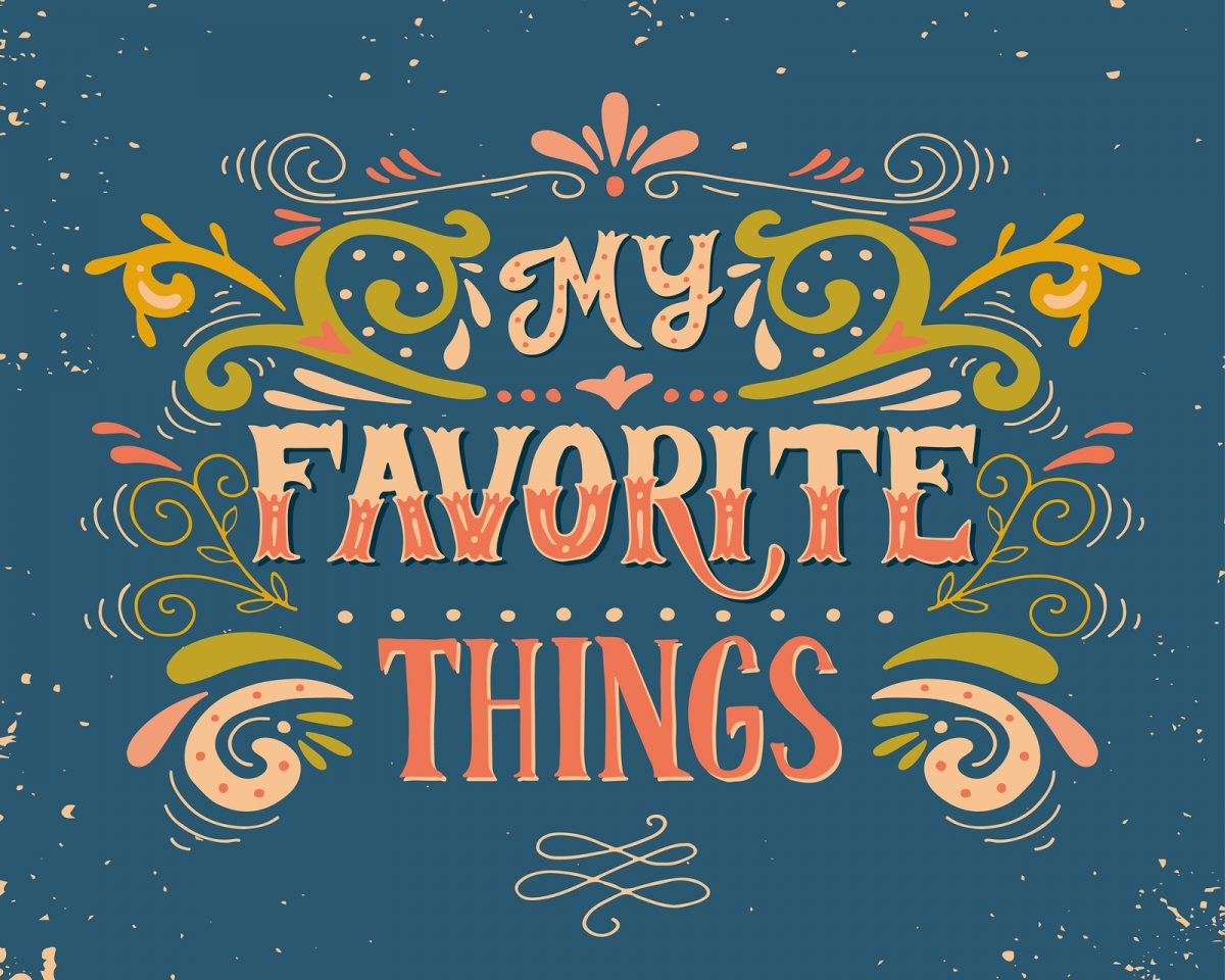 """Photo of colorful words """"my favorite things."""""""