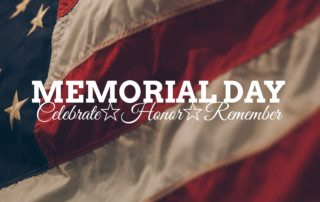 """Photo of American flag with the words """"Memorial Day - celebrate, honor, remember""""."""