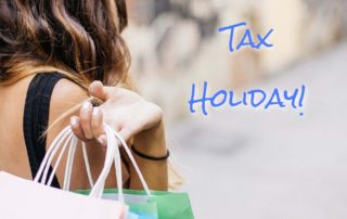 Words on Chalkboard: Sales Tax Holiday