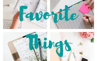 "Photos of calendar planners with the words ""favorite things""."