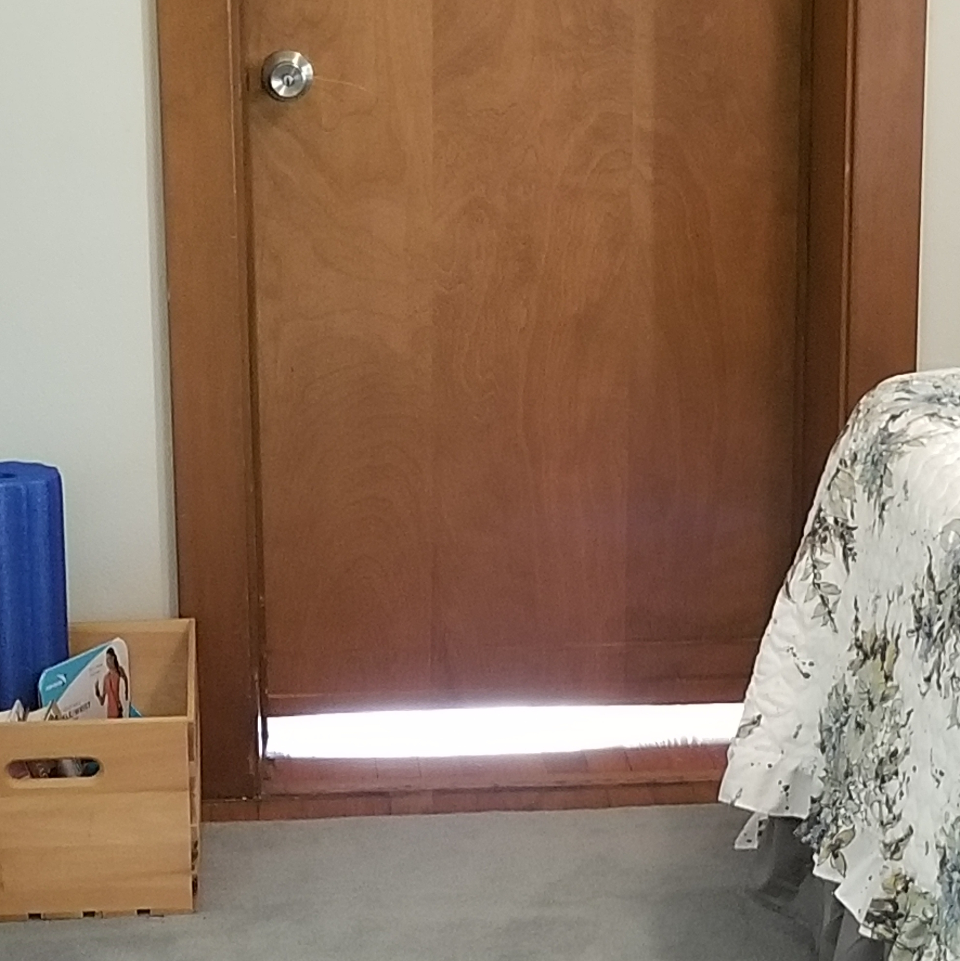 Photo of closed door in a house with light shining under it.